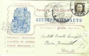 Cartolina a Ernesto Greppi Segretario Prov. Sind. F.F., Farmacia Ferro & Greppi-Vercelli